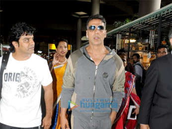 Nidhhi Agerwal and Akshay Kumar snapped at the airport