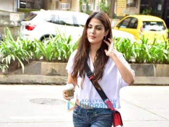 Rhea Chakraborty snapped outside the Vishesh Flims office in Khar