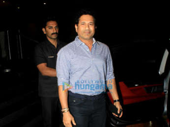 Sachin Tendulkar snapped with his family at Rang Mandir in Bandra