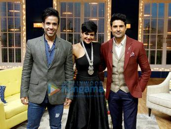 Tusshar Kapoor, Mandira Bedi and Rajeev Khandelwal snapped on sets of the show Juzz Baatt