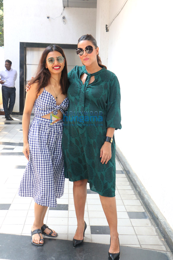 Radhika Apte and Neha Dhupia snapped on sets of the show #NoFilterNeha Season 3
