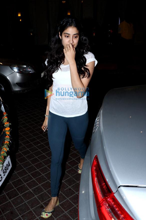Janhvi Kapoor, Khushi Kapoor, Anshula Kapoor and Boney Kapoor snapped after dinner at JW Marriott in Juhu