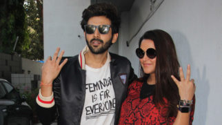 Kartik Aaryan and Neha Dhupia snapped on sets of the show No Filter Neha