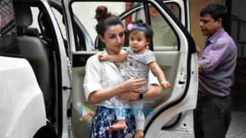 Soha Ali Khan and Inaaya Naumi Kemmu spotted at a play school in Bandra