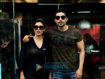 Gurmeet Choudhary and his wife Debina Choudhary spotted at Silver Beach Cafe in Juhu