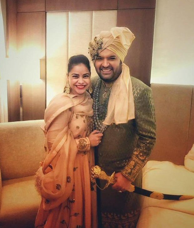 Kapil Sharma's on screen wife Sumona Chakravarty poses with him at his real wedding