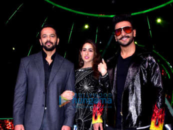 Ranveer Singh, Sara Ali Khan and Rohit Shetty snapped on sets of Indian Idol promoting their film 'Simmba'