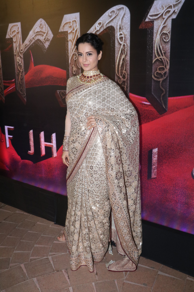 Kangana Ranaut in Tarun Tahiliani for Manikarnika music launch (1)