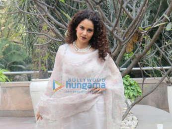 Kangana Ranaut snapped during interviews of Manikarnika - The Queen Of Jhansi at Novotel, Juhu