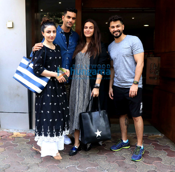 Neha Dhupia, Angad Bedi, Soha Ali Khan and Kunal Khemu spotted at Salt Water Cafe in Bandra