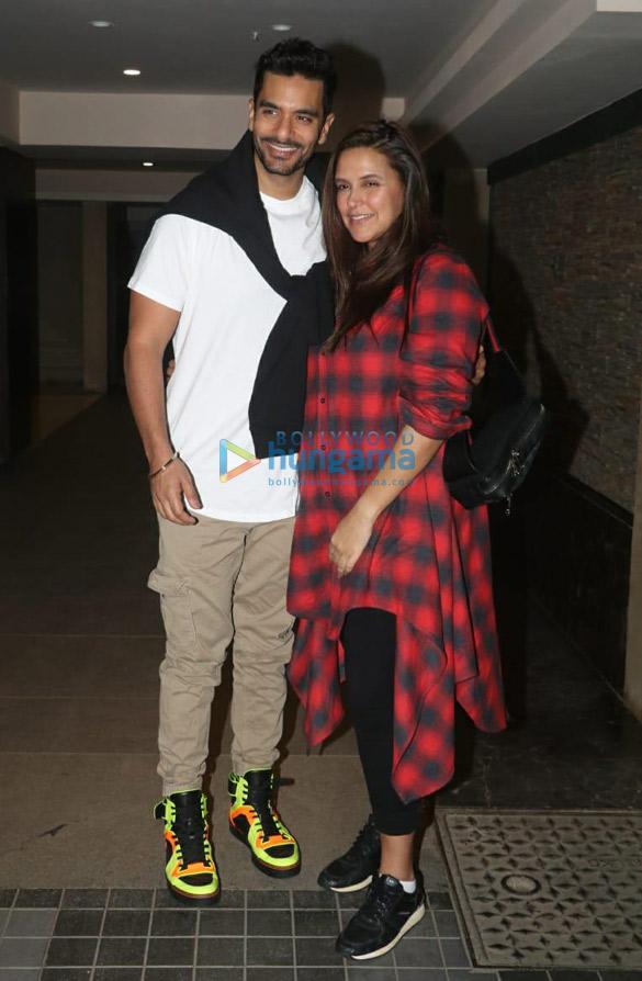 Neha Dhupia and Angad Bedi snapped at Rannvijay Singh's residence in Khar (2)