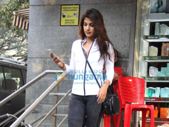 Rhea Chakraborty snapped at a salon in Bandra
