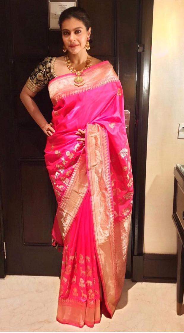 Kajol in Coloroso Weaves Banarasi saree for Soundarya Rajinikanth's wedding in Chennai (2)