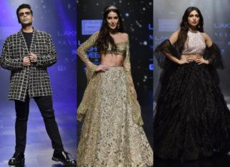 Karan Johar, Isabelle Kaif, Bhumi Pednekar for Shehlaa Khan at LFW 2019 Summer_Resort (Featured)