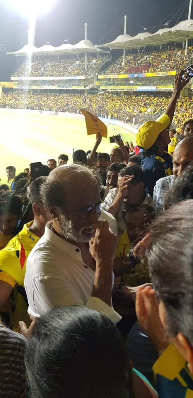 Rajinikanth comes to support Chennai Super Kings at IPL 2019 and fans go crazy to see their Thalaiva at the stadium