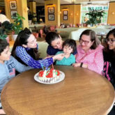 Kareena Kapoor is all smiles as Karisma Kapoor feeds cake to Taimur Ali Khan in this cutest picture ever