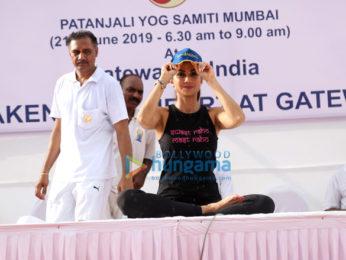 Photos: Shilpa Shetty snapped celebrating World Yoga Day at Gateway of India