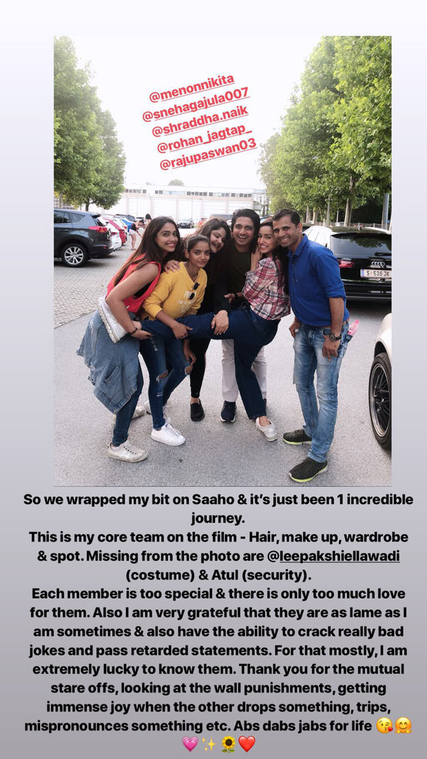 Shraddha Kapoor shares a heartfelt note for her Saaho team. Read on!