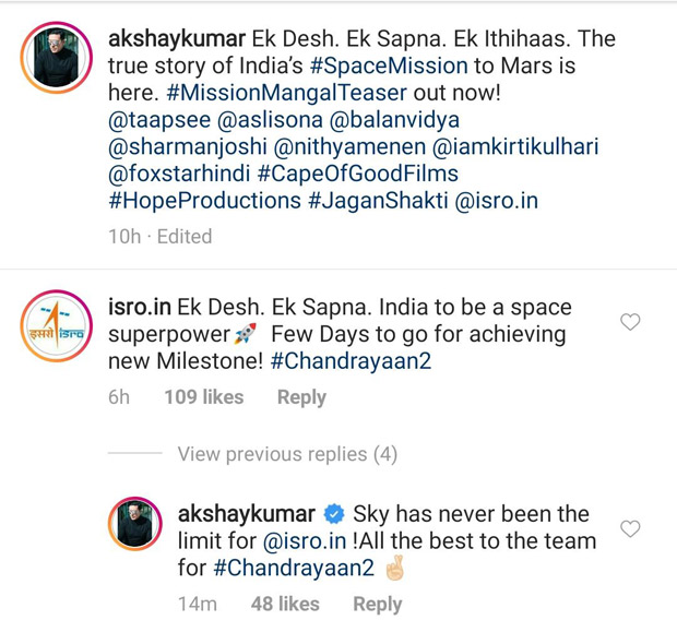 Indian Space Research Organization responds to the teaser of Akshay Kumar and Vidya Balan starrer Mission Mangal