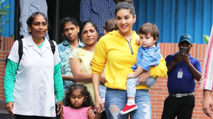Sunny Leone spotted with kids at play school