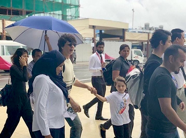 Travel Diaries: Shah Rukh Khan lands at Maldives airport with wife Gauri Khan and children, Aryan, Suhana and AbRam Khan
