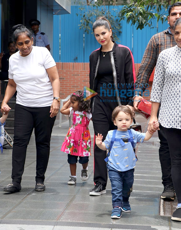 Photos: Sunny Leone snapped with her kids at play school in Juhu