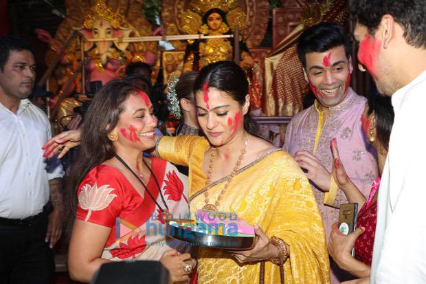 Rani Mukerji, Kajol, Karan Johar, Ayan Mukerji enjoy Sindoor Khela on Dussehra