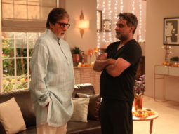 Filmmaker R Balki snapped in a candid moment with actor Amitabh Bachchan on the sets of their new campaign