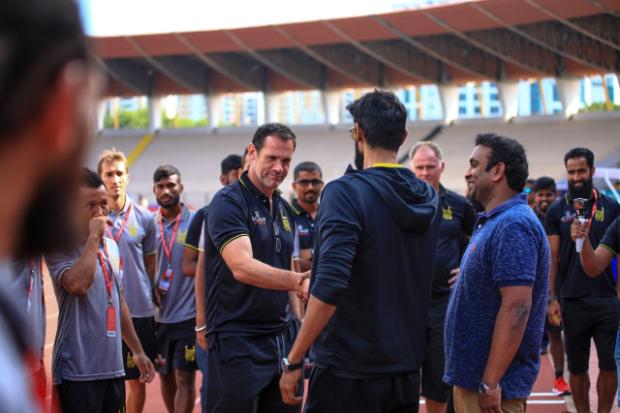 ISL 2019 - 2020: Rana Daggubati meets the Hyderabad FC players during their first match