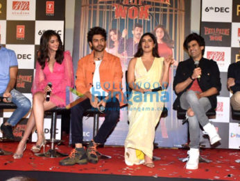 Photos Kartik Aaryan, Ananya Panday, Bhumi Pednekar and others snapped at Pati Patni Aur Woh trailer launch
