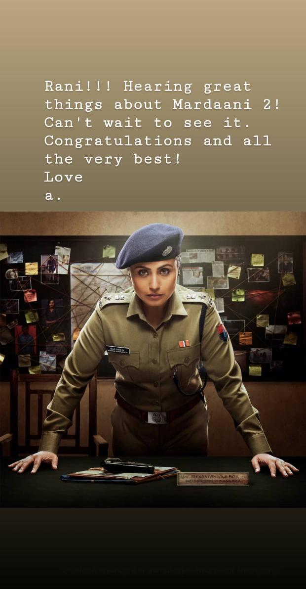 Aamir Khan congratulates Rani Mukerji on the success of Mardaani 2; says he can't wait to watch it