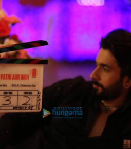 on the sets of the movie Pati Patni Aur Woh