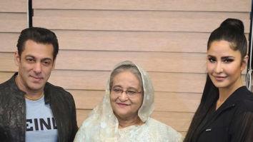 Salman Khan and Katrina Kaif pose for a picture with Bangladesh's PM, Sheikh Hasina
