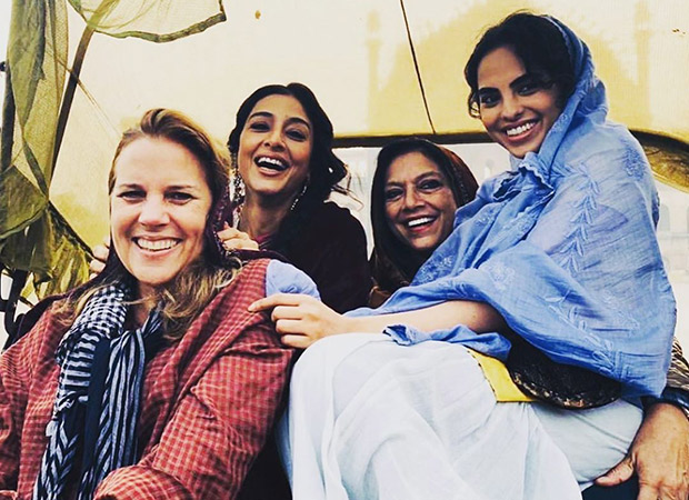 Tabu poses happily with director Mira Nair as she wraps the shoot of A Suitable Boy