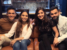Anushka Sharma and Virat Kohli celebrate team India's ODI series win with Sunil Chhetri and wife