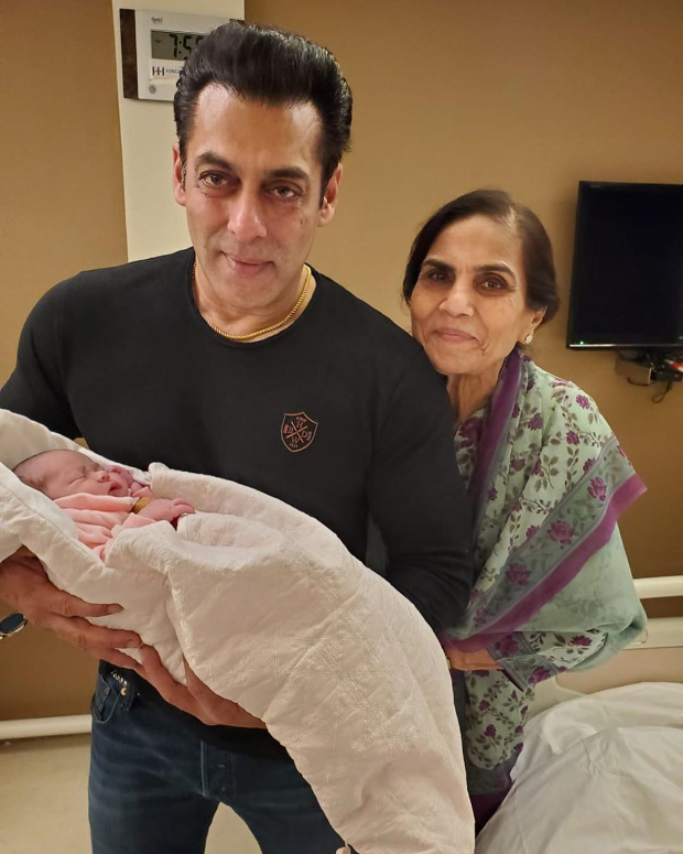 Salman Khan holds new born niece Ayat in his arms in this adorable photo featuring Salma Khan