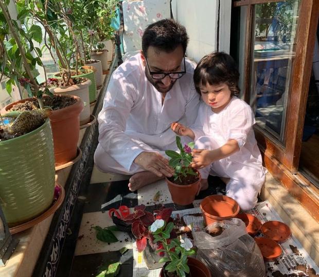 Kareena Kapoor Khan shares photos of Saif Ali Khan and Taimur gardening during Janata curfew