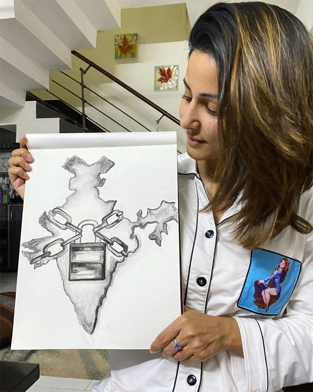 Amid nationwide lock-down, Hina Khan sketches the present situation of the country
