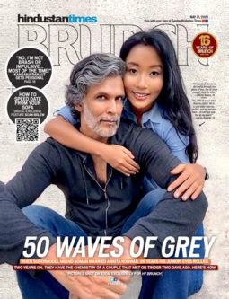 Milind Soman and Ankita Konwar on the cover of Brunch, May 2020