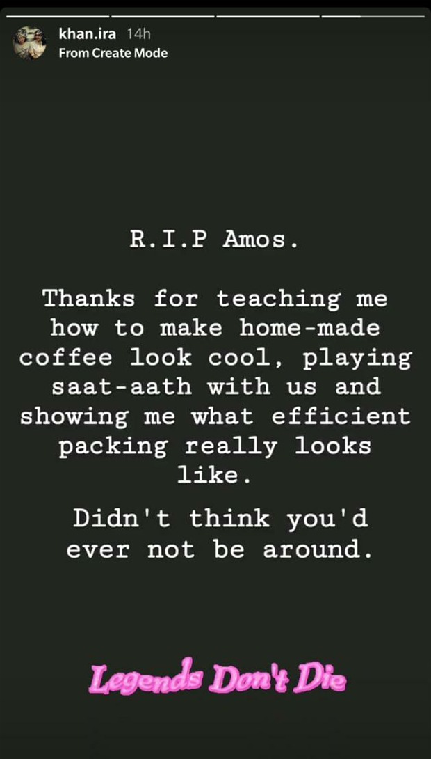 Aamir Khan's daughter pens an emotional note on Amos' demise