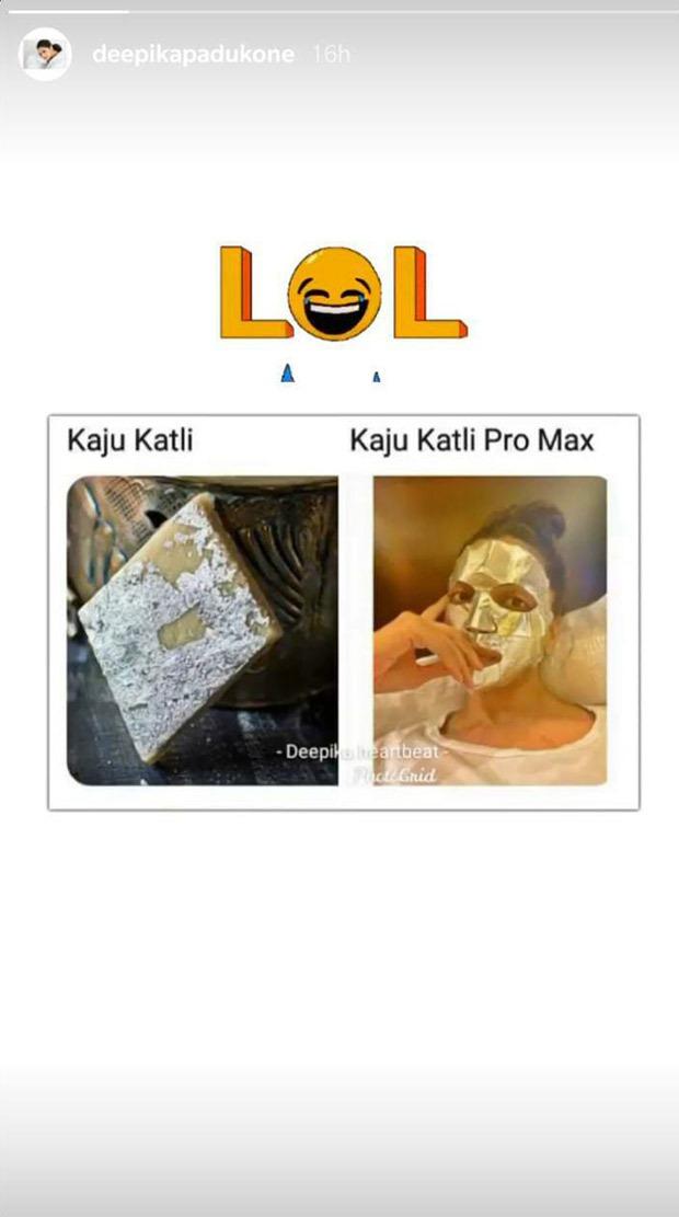 Deepika Padukone shares a hilarious meme that compares her to kaju katli
