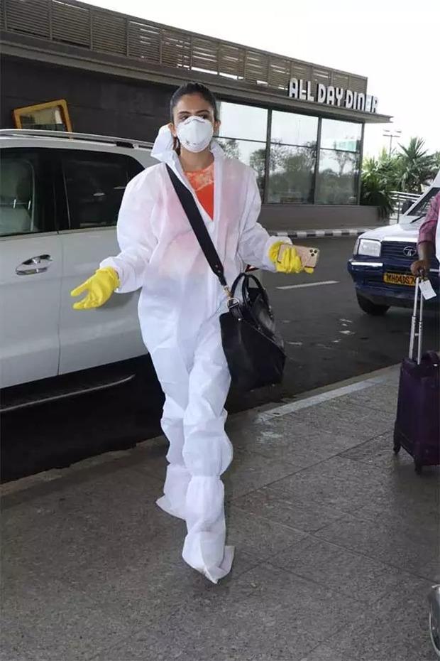 Rakul Preet Singh travels to Delhi, snapped wearing PPE gear