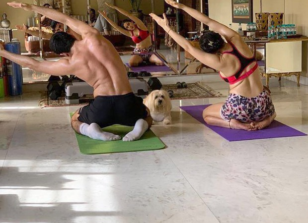 Sara Ali Khan and Ibrahim Ali Khan indulge in a yoga session along with their furry friend, Fluffy Singh