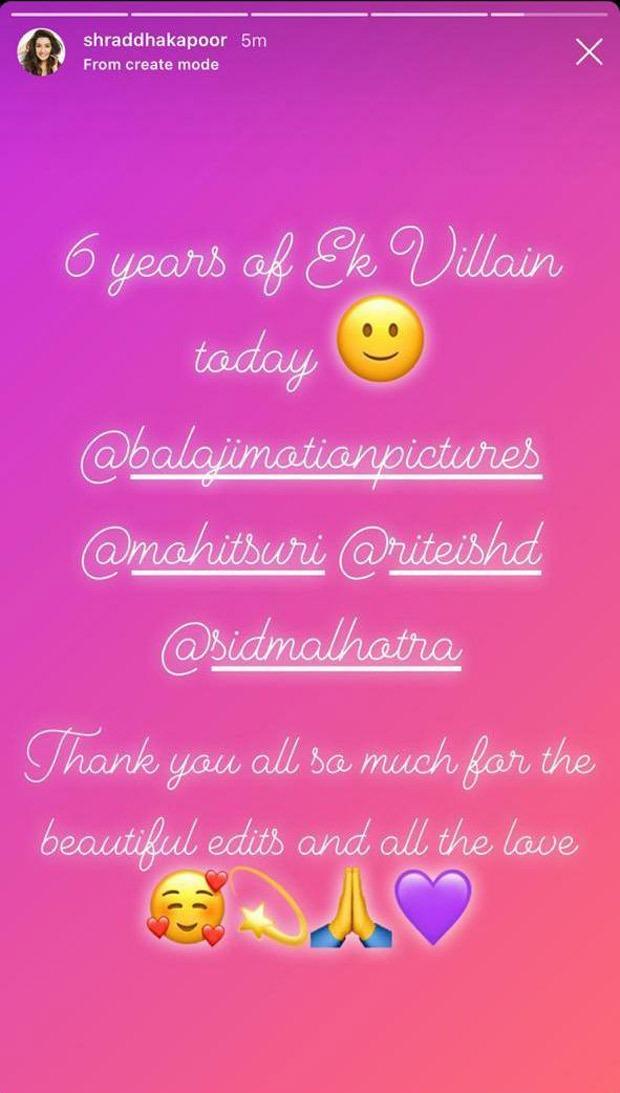 6 Years Of Ek Villain Shraddha Kapoor thanks the fans for all the love