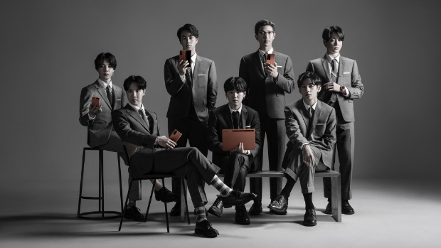 BTS look sharp in Thom Browne suits during the unveiling of Samsung Galaxy Z Fold 2and Note 20 series