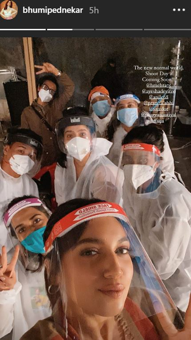 Bhumi Pednekar resumes shoot; embraces the new normal with a team selfie