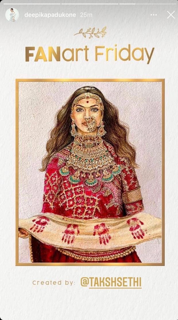 Deepika Padukone posts an astounding 'FanArt Friday' post from her character in Padmaavat