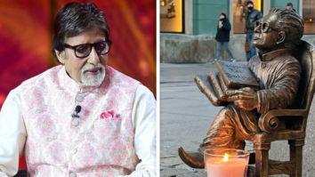 Amitabh Bachchan is honoured as a candle is lit near Harivansh Rai Bachchan's statue in Poland on Diwali
