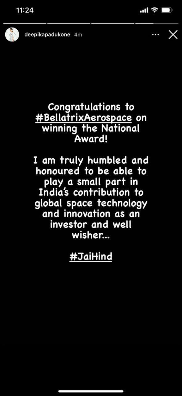 Deepika Padukone congratulates Bellatrix Aerospace, the startup she has invested in, for National Award win