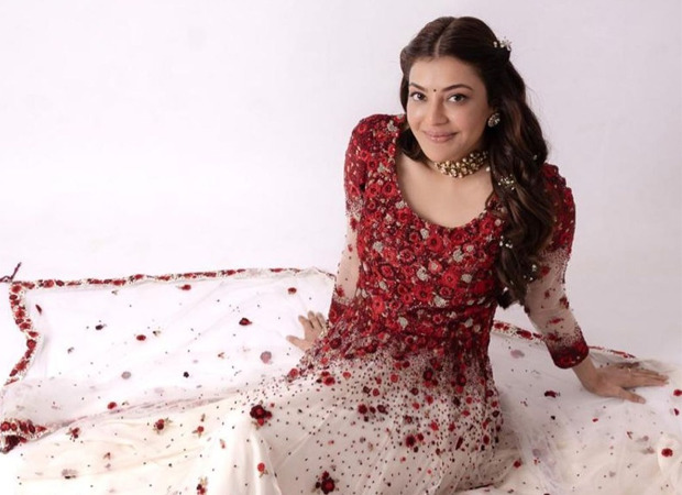 Kajal Aggarwal looks ethereal in red and ivory custom-made Varun Bahl couture for Radha Krishna pre-wedding satsang